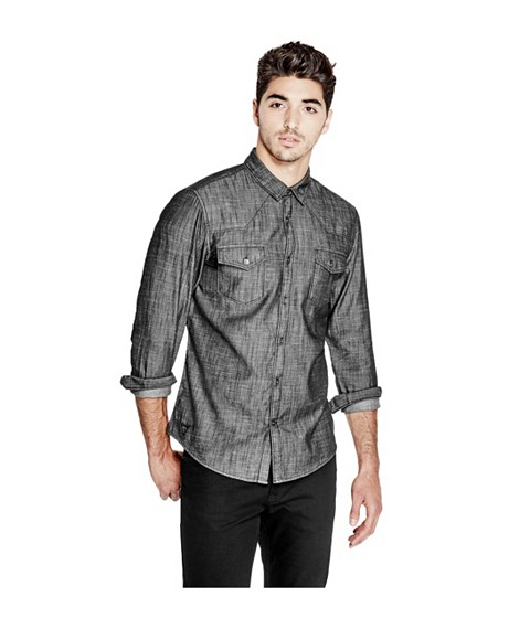 Imbracaminte Barbati GUESS Marik Slim-Fit Chambray Shirt black wash