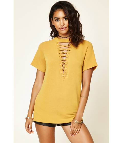 Imbracaminte Femei Forever21 Lace-Up Boxy French Terry Top Mustard