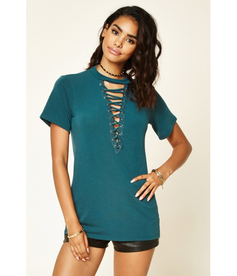 Imbracaminte Femei Forever21 Lace-Up Boxy French Terry Top Hunter green