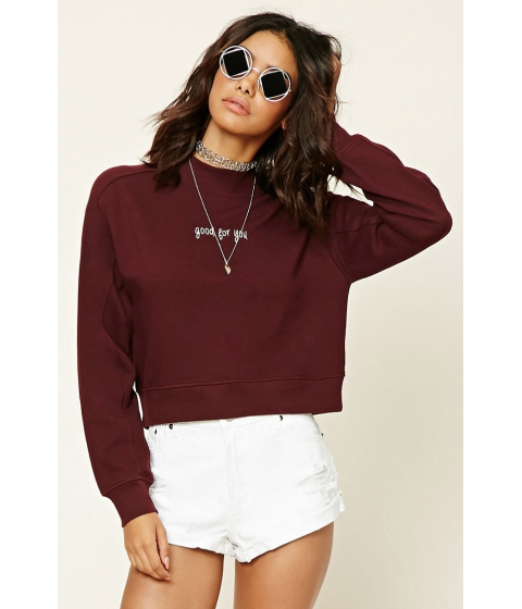 Imbracaminte Femei Forever21 Good For You Sweatshirt Burgundywhite