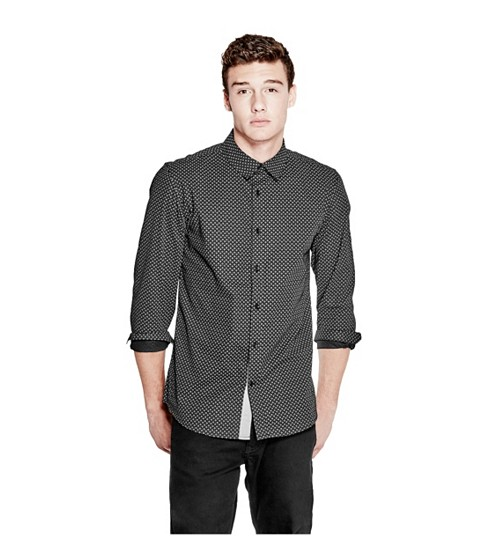 Imbracaminte Barbati GUESS Bowen Printed Slim-Fit Shirt jet black