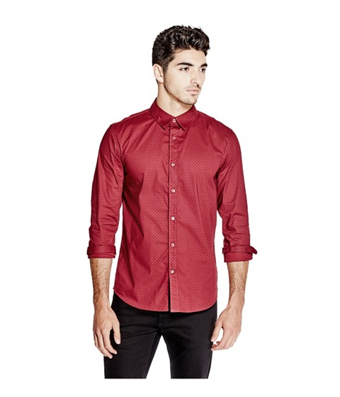 Imbracaminte Barbati GUESS Bowen Printed Slim-Fit Shirt havana red