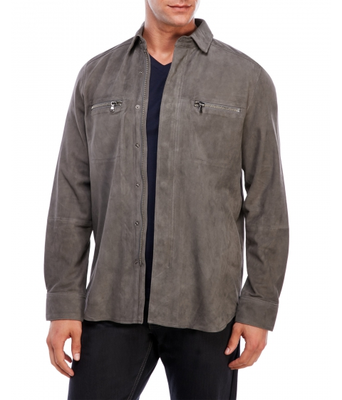 Imbracaminte Barbati Kenneth Cole New York Suede Shirt Jacket Cement