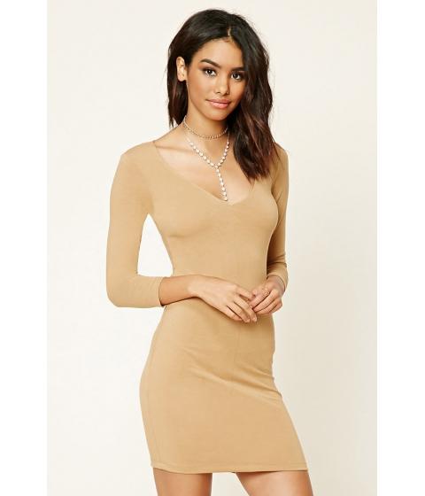 Imbracaminte Femei Forever21 V-Neck Bodycon Dress Camel