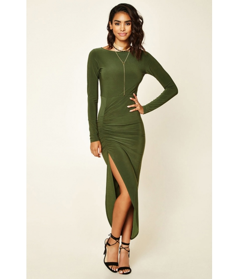 Imbracaminte Femei Forever21 Asymmetrical Ruched Maxi Dress Olive