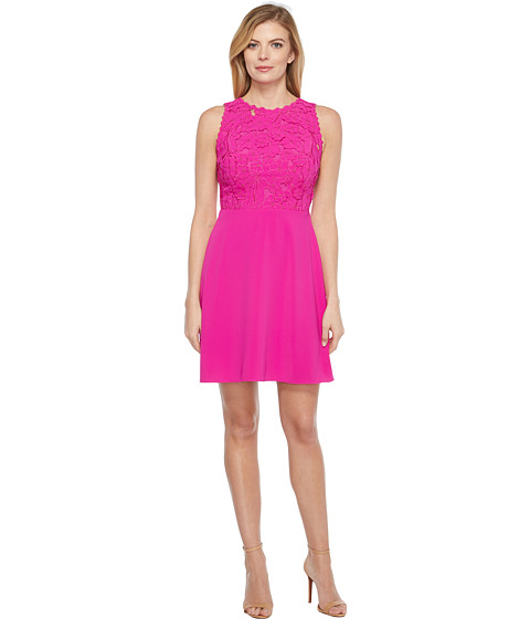 Imbracaminte Femei Laundry by Shelli Segal Embroidered Mixed Fabric A-Line Sheath Dress Electric Pink