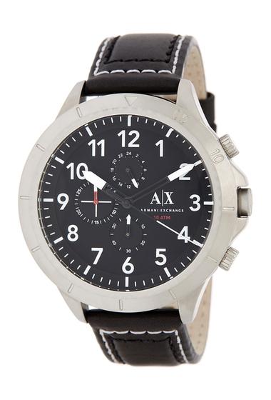 Ceasuri Barbati Armani Exchange Mens Analog Quartz Leather Strap Watch STAINLESS AND BLACK