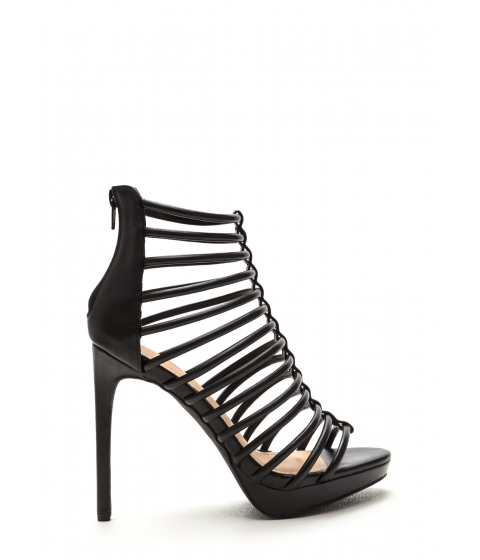 Incaltaminte Femei CheapChic Irresistible Caged Faux Leather Heels Black