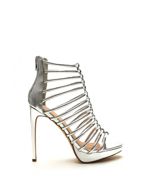 Incaltaminte Femei CheapChic Irresistible Caged Metallic Heels Silver