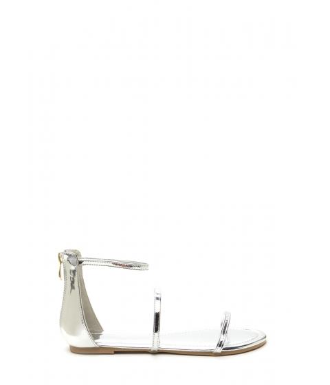 Incaltaminte Femei CheapChic Triple Whammy Strappy Metallic Sandals Silver