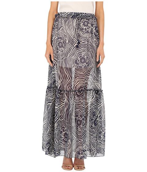 Imbracaminte Femei See by Chloe Floral Waves on Silk Georgette Skirt Navy
