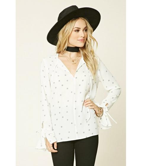Imbracaminte Femei Forever21 Abstract Ruffled-Sleeve Top Creamblack