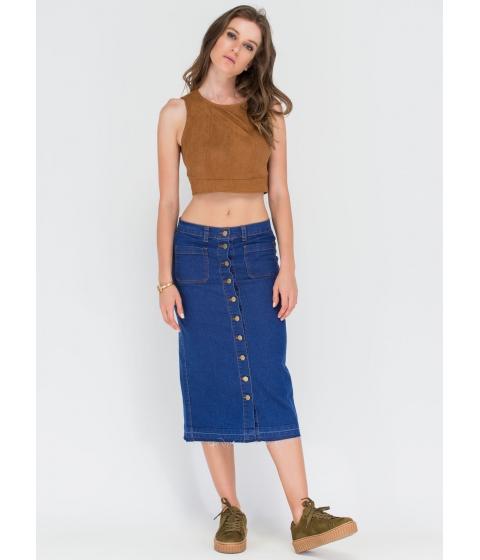 Imbracaminte Femei CheapChic Long Way Buttoned Denim Midi Skirt Blue