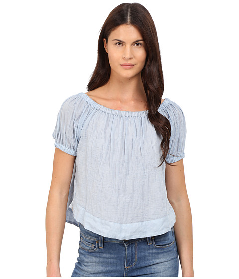 Imbracaminte Femei See by Chloe Striped Cotton Voile Off the Shoulder Blouse Forever Blue