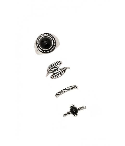 Bijuterii Femei Forever21 Etched Midi Ring Set Bsilverblack