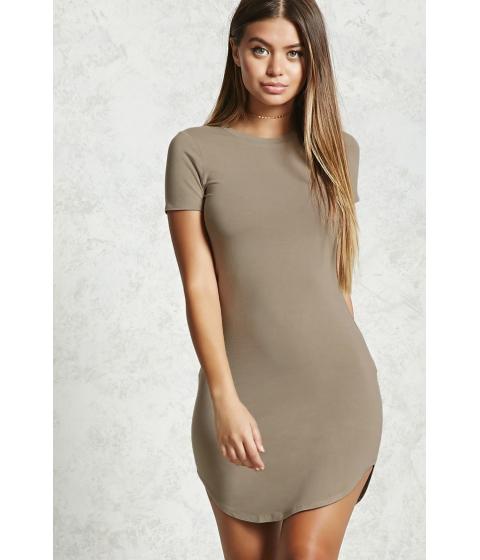 Imbracaminte Femei Forever21 Curved Hem T-Shirt Dress Light olive