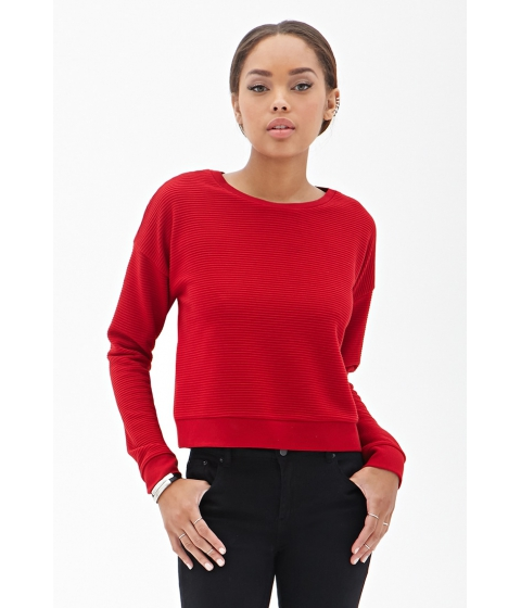 Imbracaminte Femei Forever21 Ribbed Crew Neck Top Red