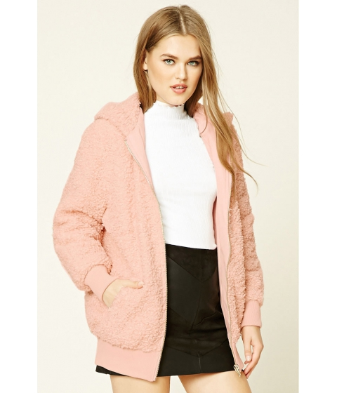 Imbracaminte Femei Forever21 Faux Shearling Hooded Jacket Light pink