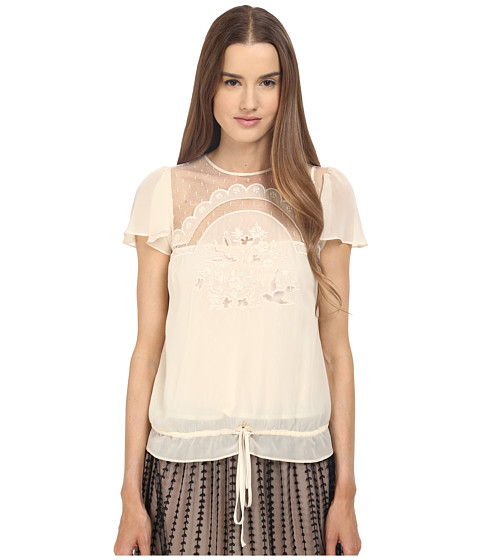 Imbracaminte Femei Red Valentino Cut Out Embroidery Point Desprit Blouse White