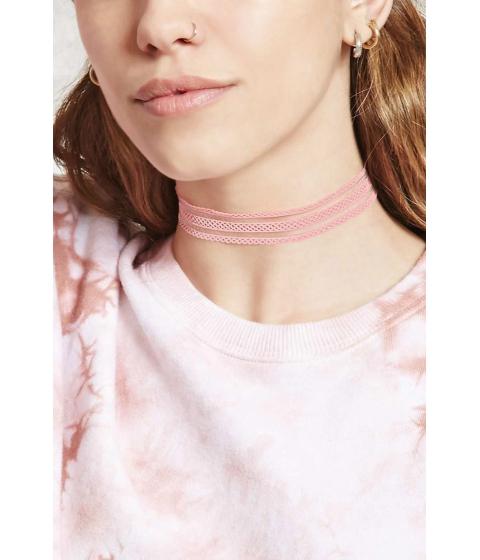 Bijuterii Femei Forever21 Crochet Choker Pink