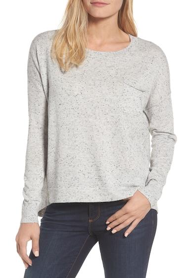 Imbracaminte Femei Caslon Pleat Back Hi-Lo Crew Neck Sweater GREY NEP