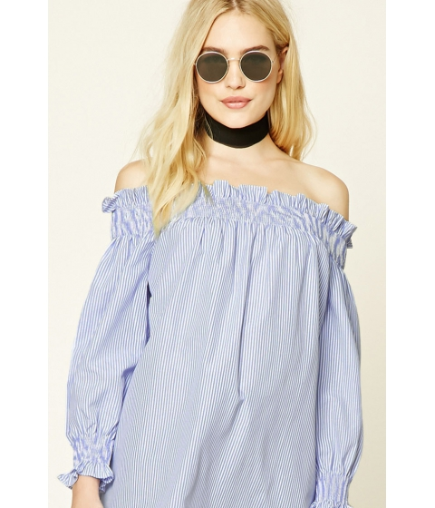 Imbracaminte Femei Forever21 Striped Off-The-Shoulder Top Bluewhite