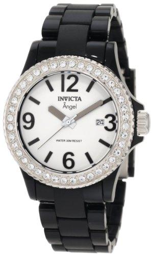 Ceasuri Femei Invicta Watches Angel White Dial Black Plastic Ladies Watch White