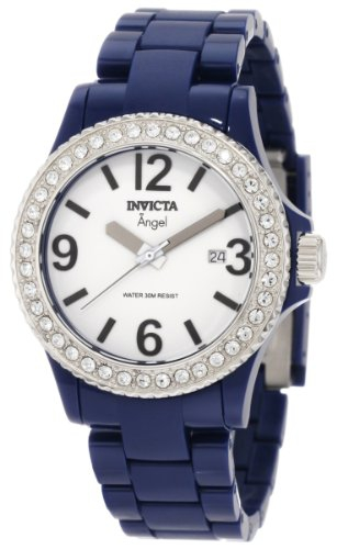 Ceasuri Femei Invicta Watches Angel Silver Dial Dark Blue Plastic Ladies Watch White