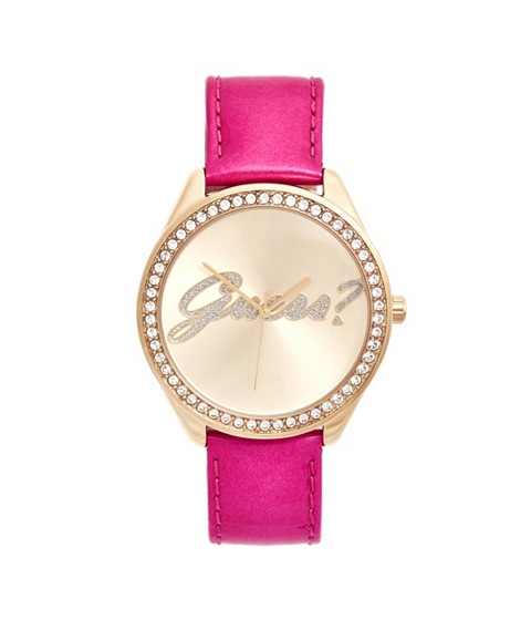 Ceasuri Femei GUESS Pink and Gold-Tone Logo Watch no color