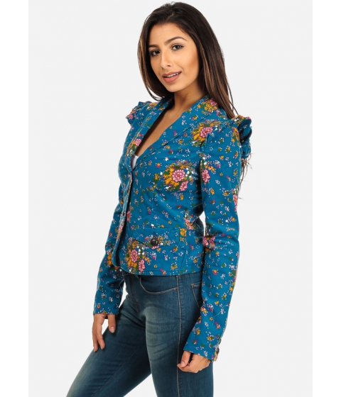 Imbracaminte Femei CheapChic Cotton Spandex Floral Button-Front Long Sleeve Jacket (Blue) Multicolor