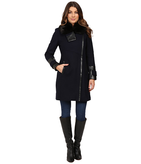 Imbracaminte Femei Via Spiga Asymmetrical Coat w Zip Front and Faux Fur Collar Navy