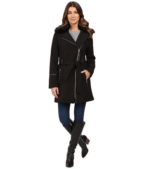 Imbracaminte Femei Via Spiga Asymmetrical Softshell with Removable Faux Fur Collar Black