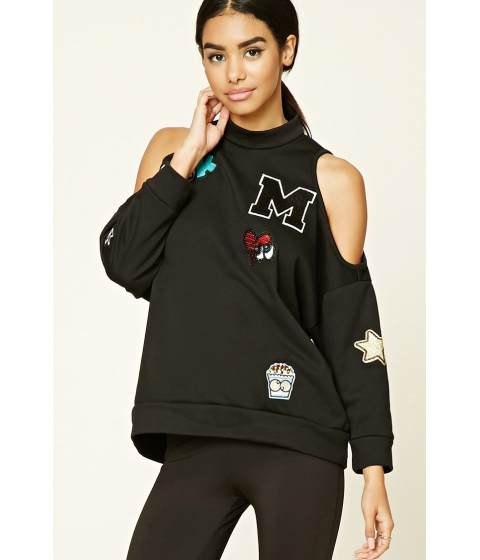 Imbracaminte Femei Forever21 Open-Shoulder Patch Top Black