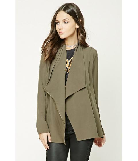Imbracaminte Femei Forever21 Asymmetrical Cowl Neck Jacket Olive