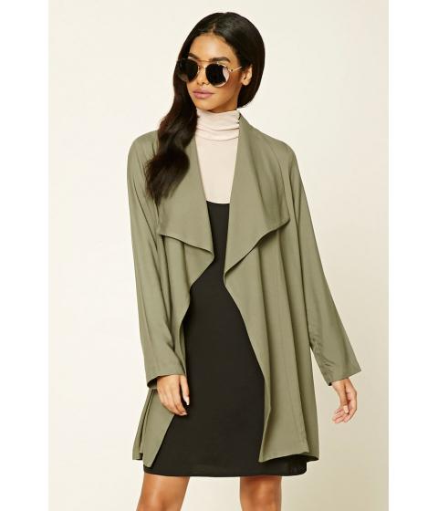 Imbracaminte Femei Forever21 Drape-Front Longline Jacket Olive