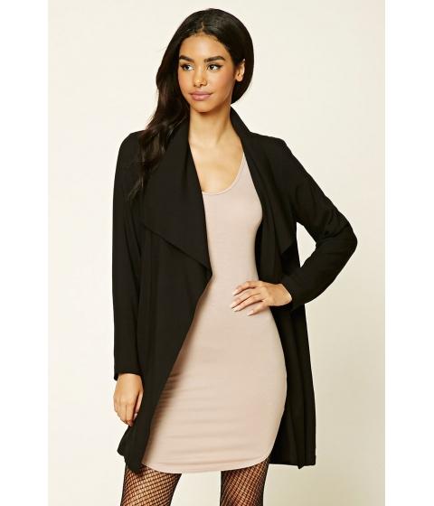 Imbracaminte Femei Forever21 Drape-Front Longline Jacket Black