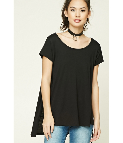 Imbracaminte Femei Forever21 Oversized Lace-Up High-Low Top Black