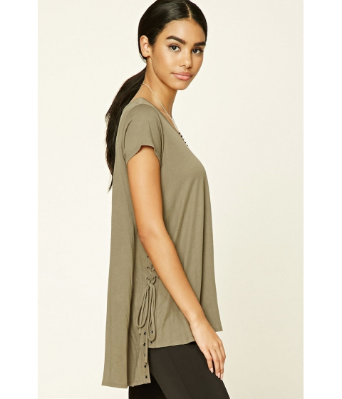 Imbracaminte Femei Forever21 Oversized Lace-Up High-Low Top Olive