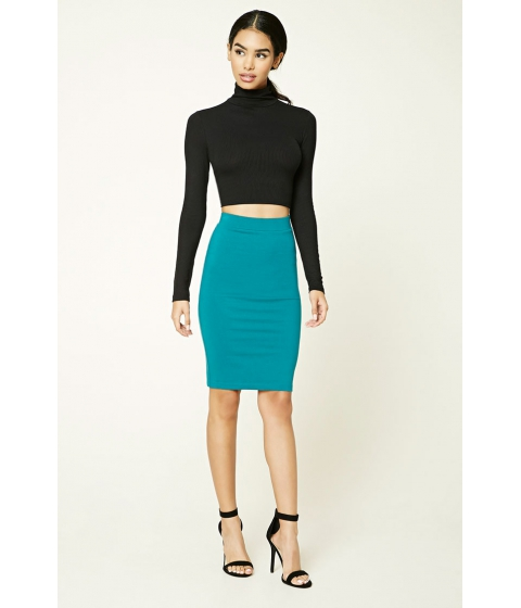 Imbracaminte Femei Forever21 Cotton-Blend Pencil Skirt Peacock
