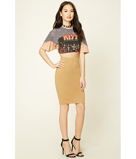 Imbracaminte Femei Forever21 Cotton-Blend Pencil Skirt Camel