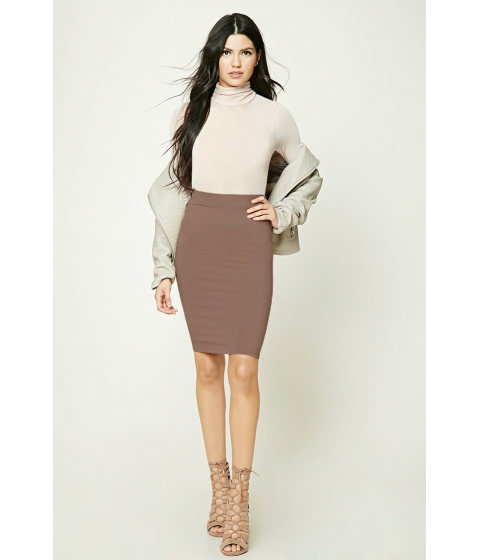 Imbracaminte Femei Forever21 Cotton-Blend Pencil Skirt Walnut