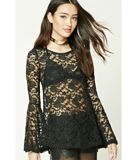 Imbracaminte Femei Forever21 Scalloped Sheer Lace Top Black