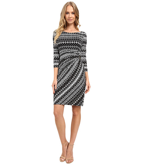 Imbracaminte Femei Tahari by ASL Faux-Wrap 34 Sleeve Printed Jersey Dress WhiteBlack