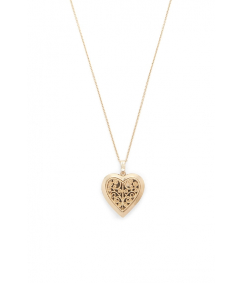 Bijuterii Femei Forever21 Etched Heart Locket Necklace Gold
