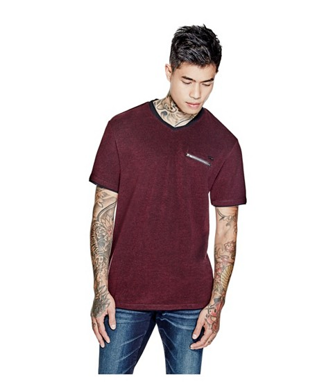 Imbracaminte Barbati GUESS Skyler Marled V-Neck Tee marmont red