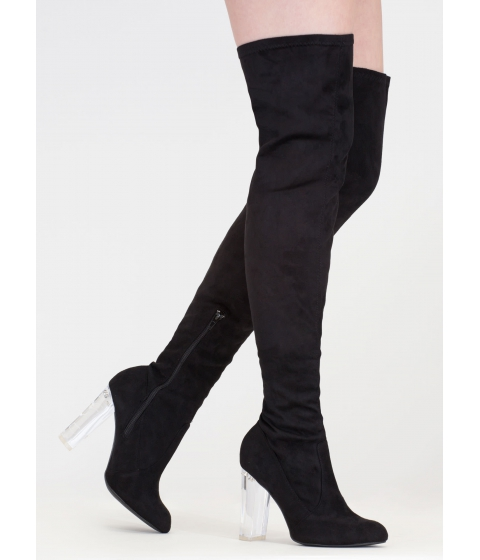 Incaltaminte Femei CheapChic Clear Case Over-the-knee Boots Black