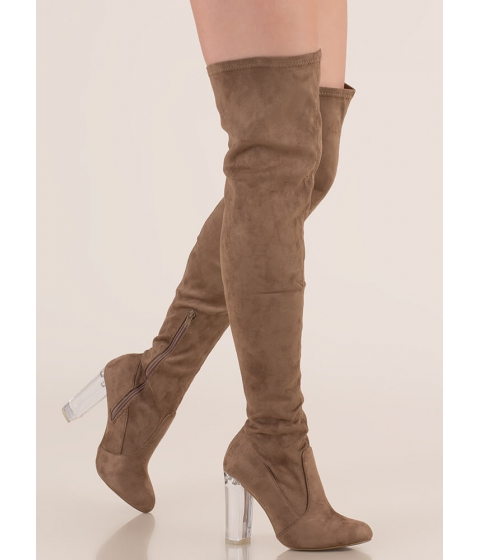 Incaltaminte Femei CheapChic Clear Case Over-the-knee Boots Taupe
