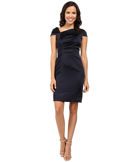 Imagine indisponibila pentru Imbracaminte Femei Tahari by ASL Fold-Over Collar Side Ruched Dress Navy
