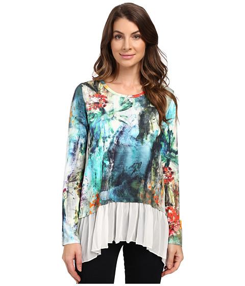 Imbracaminte Femei Karen Kane Painted Hydrangea Sheer Hem Top Print