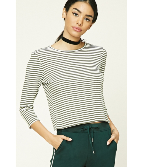 Imbracaminte Femei Forever21 Stripe Ribbed Knit Top Oliveivory